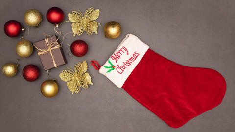 Christmas ornaments enter in Christmas sock - Stop motion animation Animation
