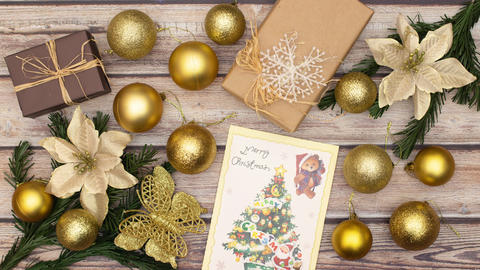 Beautiful stop motion animation of gold Christmas decoration on the table Animation