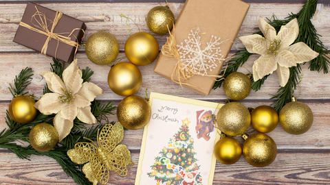 Beautiful stop motion animation of gold Christmas decoration making frame and disappearing Animation