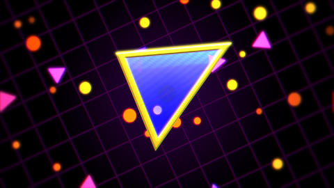 Motion retro triangle in space, abstract background with noise and distortion Animation