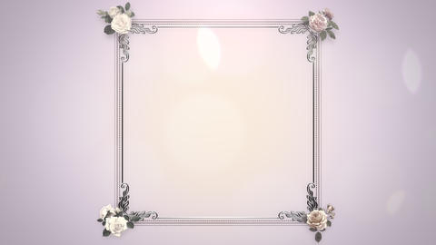 Closeup vintage frame with flowers motion, wedding background 애니메이션