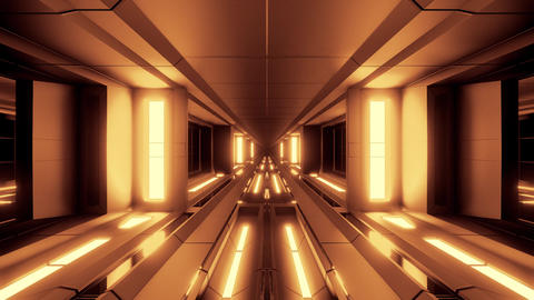 futuristic scifi tunnel corridor with hot metl and nice reflection 3d Animation