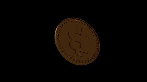 Vertical video Isolated gold coin of digital crypto currency Bitcoin soars and falls spinning on a Animation
