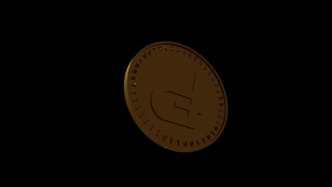 Vertical video Isolated gold coin of digital crypto currency PotCoin soars and falls spinning on a Animation