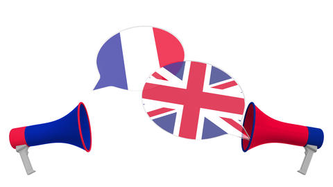 Speech bubbles with flags of Great Britain and France and loudspeakers Live Action
