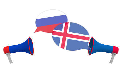 Speech bubbles with flags of Iceland and Russia. Intercultural dialogue or Live Action