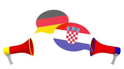 Speech bubbles with flags of Croatia and Germany. Intercultural dialogue or Live Action