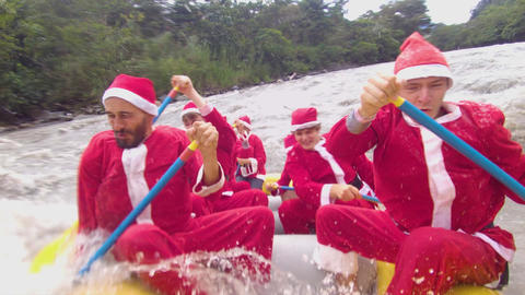 Santa Claus Team Doing Rafting Live Action