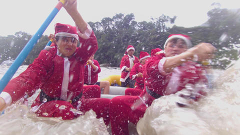 Santa Claus Team Getting Tired Of Rafting Live Action