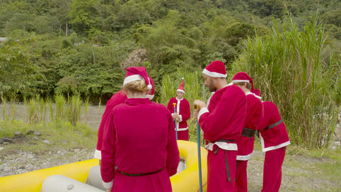 Santa Claus Receiving A Rafting Lesson Live Action