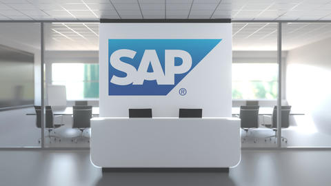 SAP logo above reception desk in the modern office, editorial conceptual 3D Live Action