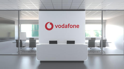 VODAFONE logo above reception desk in the modern office, editorial conceptual 3D Live Action