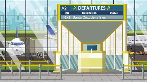 Flight to Santa cruz de la sierra on airport departure board. Trip to Bolivia Live Action