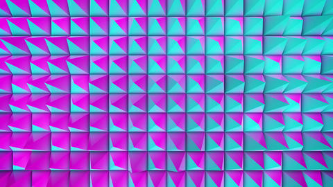 Pink and Cyan Oscilating Spiky Grid CG動画