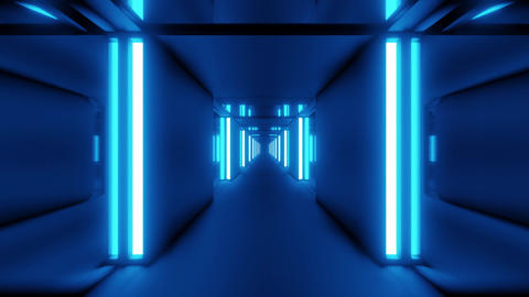 clean blue tunnel corridor with glass windows 3d illustration motion background Animation