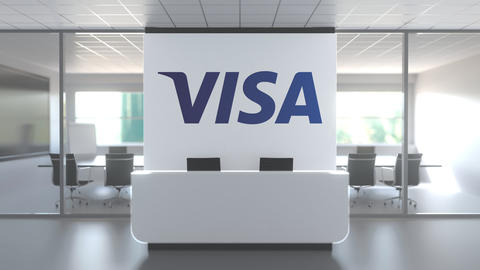 Logo of VISA on a wall in the modern office, editorial conceptual 3D animation Live Action