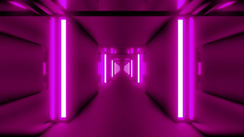 clean pink tunnel corridor with glass windows 3d illustration motion background Animation