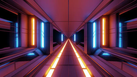 clean futuristic scifi space hangar tunnel corridor with hot glowing metal 3d Animation