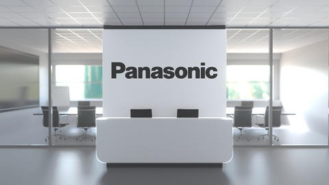 Logo of PANASONIC on a wall in the modern office, editorial conceptual 3D Live Action