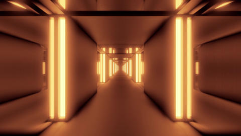 clean golden tunnel corridor with glass windows 3d illustration motion Animation