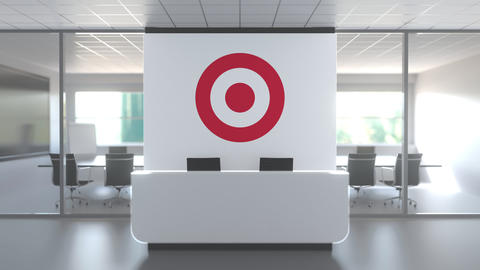 TARGET logo above reception desk in the modern office, editorial conceptual 3D Live Action