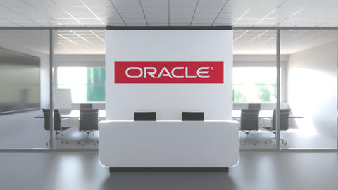 Logo of ORACLE on a wall in the modern office, editorial conceptual 3D animation Live Action