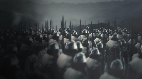 Great Viking Army Ready for Battle Under a Storm Live Action