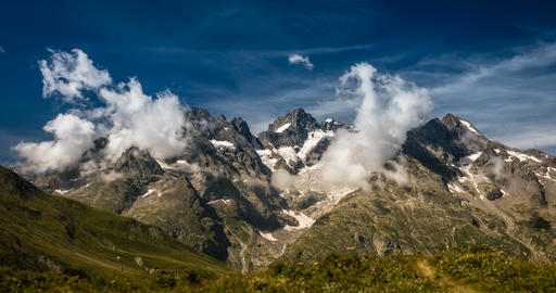 4K, Time Lapse, Cloud Formation At Col Du Lautaret, France - Neutral Version 影片素材