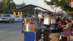 Food seller waiting for customers,Battambang,Cambodia Footage