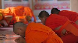 Monks praying in That Luang temple,Vientiane,Laos Footage