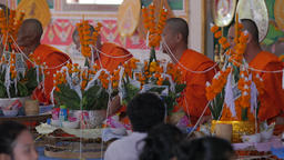 People praying with monks,Vientiane,Laos Footage