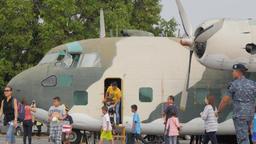 Tourists on airplane show with cargo plane,Ubon Ratchathani,Thailand Footage