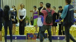 Winners of dance contest get on podium and being photographed,Ubon Ratchathani,T Footage