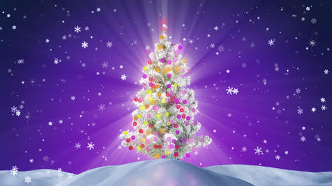 decorated christmas tree at night loopable Animation