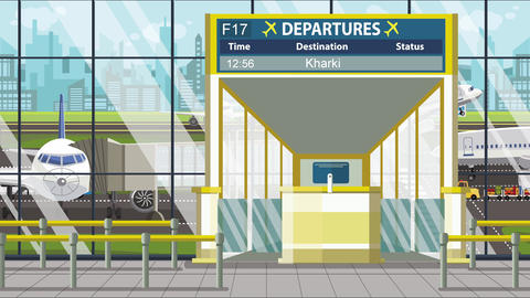 Flight to Kharkiv on airport departure board. Trip to Ukraine loopable cartoon Live Action