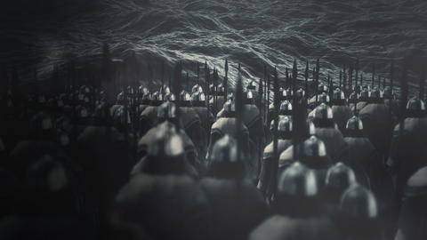 Army of Vikings Standing in Front Ocean Waves Archivo
