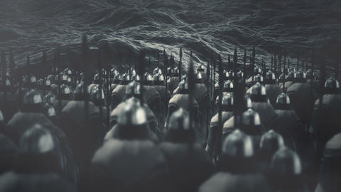 Viking Warriors Standing in Front of the Ocean Waves ビデオ