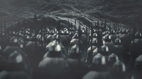 Viking Warriors Standing in Front of the Ocean Waves Archivo
