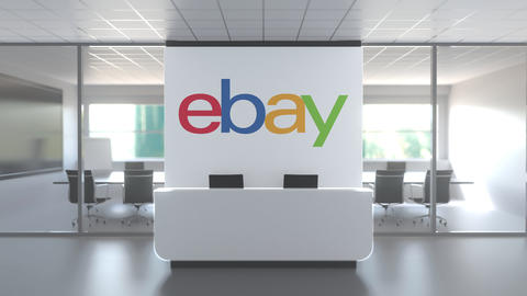 EBAY logo above reception desk in the modern office, editorial conceptual 3D Live Action