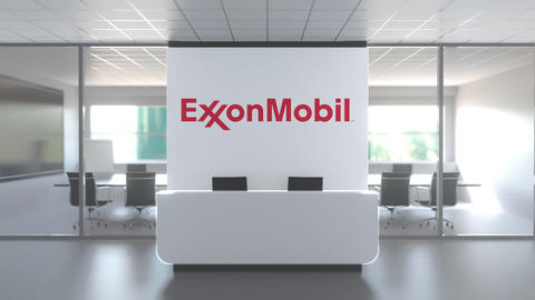 Logo of EXXON MOBIL on a wall in the modern office, editorial conceptual 3D Live Action