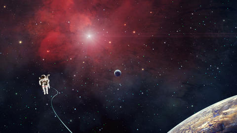 Space scene. Astronaut fly in red nebula with planet. Elements furnished by NASA. 3D rendering Animation