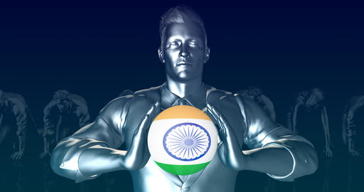 Man Holding Flag of India as Global Sphere Footage