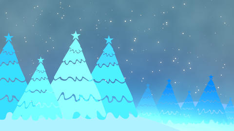 Christmas tree and white snowflakes, stars falling. Happy New Year and Merry Christmas shiny Animation