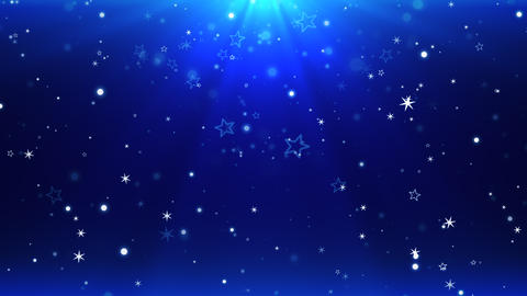 Abstract blue bokeh and snowflake falling. Happy New Year and Merry Christmas shiny background Animation