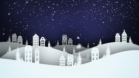 Animated closeup night village and snowing landscape CG動画