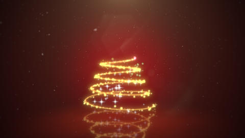 Animated closeup Christmas tree on dark red background CG動画