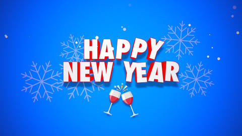 Animated closeup Happy New Year text on blue background CG動画