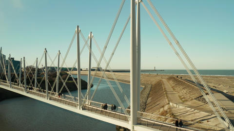 Dunkirk Grand Large footbridge (Passerelle du Grand Large, Dunkerque, France) Live Action