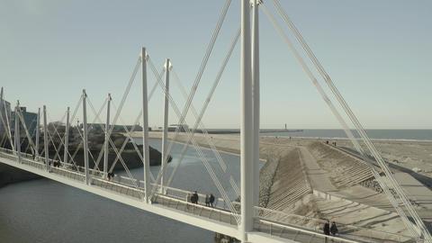Dunkirk Grand Large footbridge (Passerelle du Grand Large, Dunkerque, France) d-log Live Action