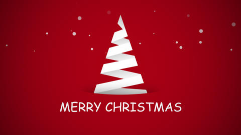 Animated close up Merry Christmas text, white Christmas tree on red background CG動画